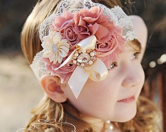 Dusty Rose Headband/Toddler Headband/Girl Headband/Newborn Headband/Flower Headband/Baby Headband/Flower Girl Headband/Infant Headband