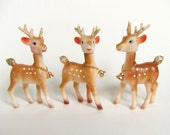 60s Vintage Reindeer Figurines, Christmas Decor, Gold Bells, Kitsch Hong Kong Deer, Plastic Reindeer Ornaments