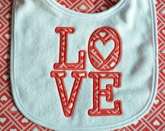 Embroidery Applique Love Valentine's Day Bib
