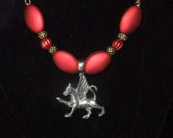 Gryffindor Red & Gold Necklace (G1) - Great Gift for Fans of the Books or Movies!