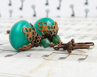 Green Moonglow - vintage style antique brass earrings