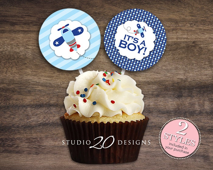 cup cakes for wedding instant 2 blue airplane cupcake toppers 3224