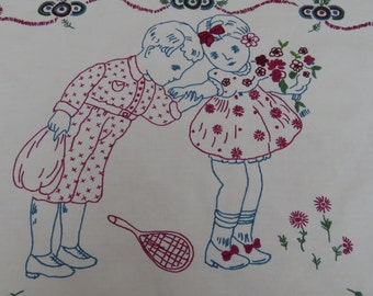 Vintage hand embroidered hungarian wall hanging (1950s)