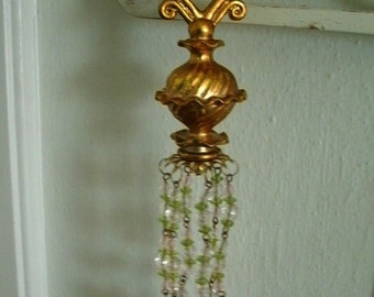 3 PINK+green crystal chandelier ornaments dangling decoration shabbyvintage style