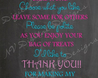 Candy buffet chalkboard sign- Candy Table sign/poster Digital File