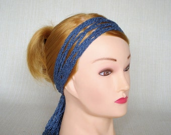 Denim crochet headband Boho head scarf Bohemian headband Crochet head wrap Hippie headband Womens head band Crochet hair scarf headwrap