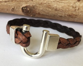 Tan Braided Leather Horseshoe Bracelet, Equestrian Bracelet,  Leather Bangle, Tan Braided Leather and Antique Silver Clasp