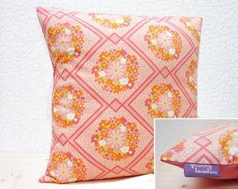"Handmade 16""x16"" Premium Cotton Cushion Pillow Cover in Pink Floral/Diamond Retro 50's/60's Design Print"