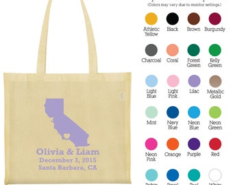 Canvas Tote (C1178) State of California - Personalized Wedding Tote Bags - Wedding Favors - Personalized Bags - Custom Cotton Bags