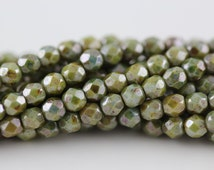 50 Luster-Opaque Green, 3mm Czech fire-polished glass faceted round FP-3M-38