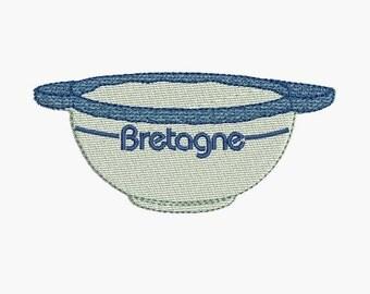 Instant download   Machine Embroidery design Breton bowl customizable