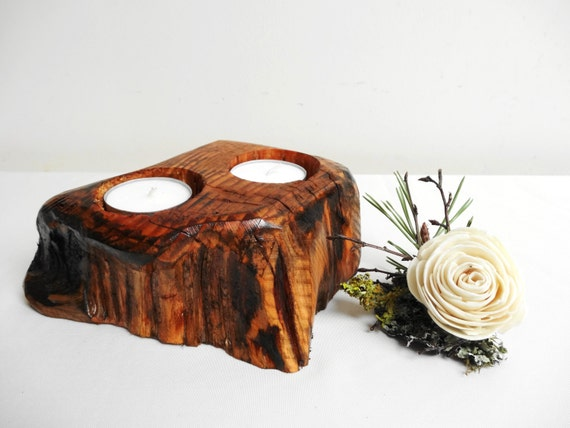 Items similar to wooden candle holder centerpiece