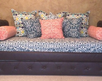 Fitted Daybed cover in twin, twin xl and full- Customize Fabric, size  (pictured in Premier Prints Seville Planation Blue)