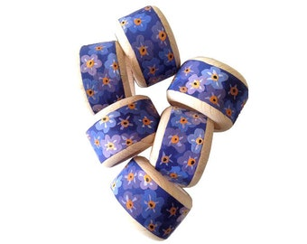 Purple napkin rings, hand painted serviette rings, floral napkin holders, wedding napkin rings, festive table decor, housewarming gift