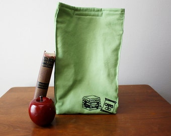 Sandwich Print Organic Cotton Insulated Lunch Bag//Avocado//Eco Friendly//Adult Lunch Bag//Kid Lunch Bag