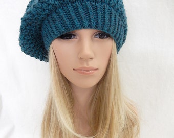 Knit Hat Slouchy Beret Beanie Handmade..Teal Heather Blue  (Ready to Ship)