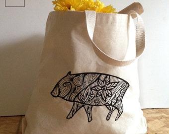 Havalina Pig Deluxe Natural Canvas Market Tote Bag