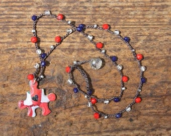 Autism Awareness Necklace...Puzzle Pendant on Beaded Crochet Chain