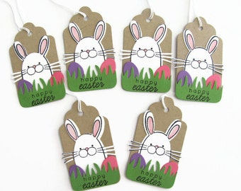 Happy Easter Gift Tags, Easter Favor Tags, Easter Bunny and Eggs, Tags, Kraft Tags