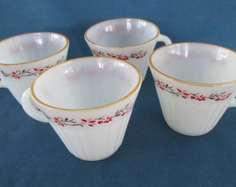 Vintage Termocrisa Milk Glass Tea Cups Marked Drinkware Kitchen Dining