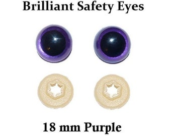 18mm Safety Eyes Purple Violet Brilliant with Round Pupil (One Pair)