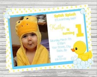 Rubber Duckie DIGITAL Birthday Invitation.
