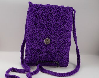 Purple Crossbody Bag, Crossbody Purse, Crochet Purse, Wallet Purse, Cell Phone Purse, Purple Shoulder Bag, Crochet Handbag, Evening Bag