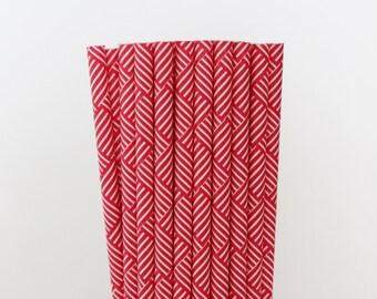Red Basket Weave Paper Straws-Red Straws-Party Straws-Wedding Straws-Shower Straws-Mason Jar Straws-Basket Weave Straws-Cake Pop Sticks