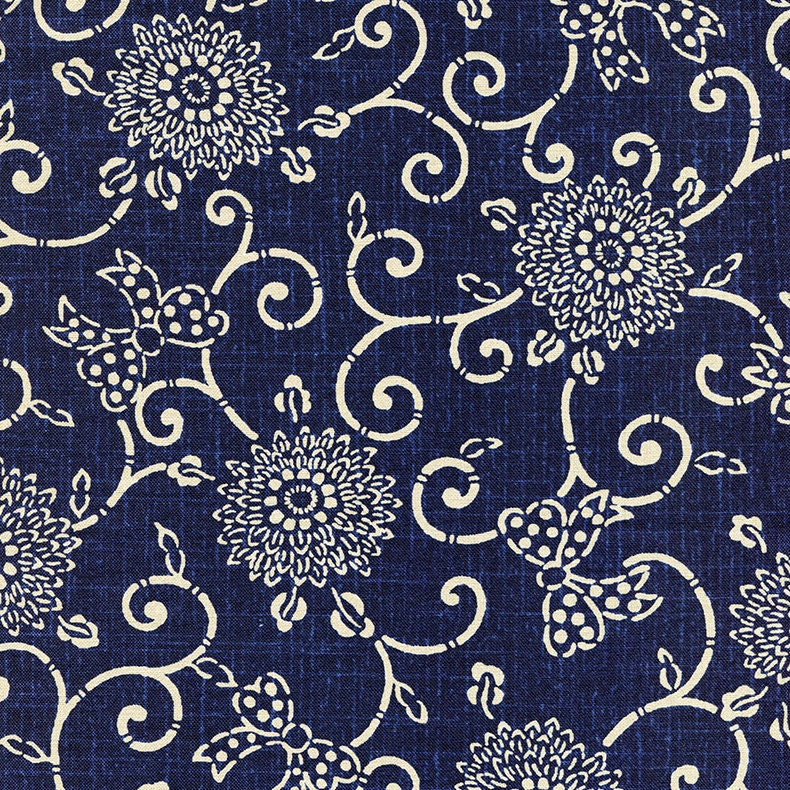 Floral Fabric Japanese Indigo Cotton Quilting Fabric by the