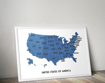 Modern United States of America Map, Wall Art for playroom, Kids wall art
