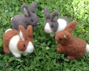 Needle Felted Rabbit Handmade Bunny small