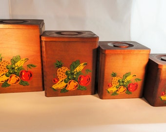 1950s KITSCHY WOOD CANISTERS with fruit design.