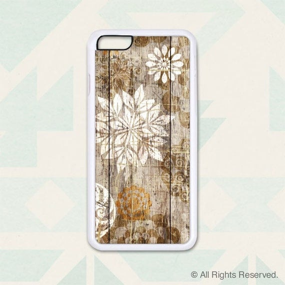 iPhone 6, 6+, 5 5s, 5c, 4 4s, Samsung Galaxy S3, S4, S5 - Floral Art on Wood - Design Cover 203