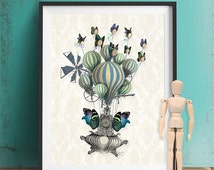 Steampunk poster - Flutter Time - steampunk gift Steampunk artwork Buttterfly Print picture butterfly home decor Butterfly wall decor