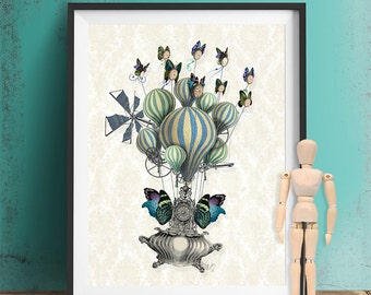 Steampunk Poster   Flutter Time   Steampunk Gift Steampunk Artwork  Buttterfly Print Picture Butterfly Home Decor Part 83