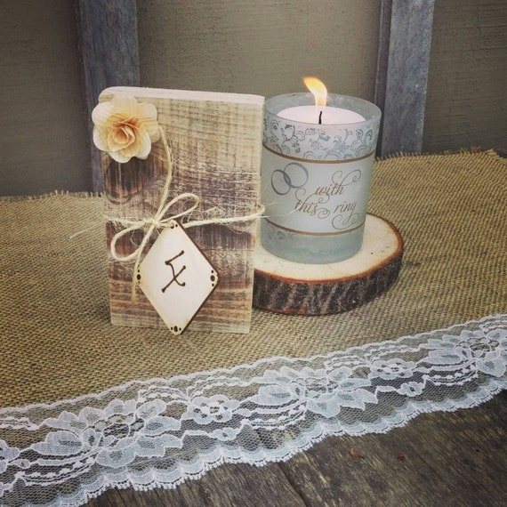 Rustic Wedding Table Numbers Pallet Wood & Burlap With Any