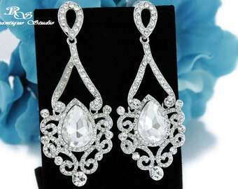 Statement wedding earrings crystal bridal earrings wedding jewelry bridal jewelry art deco wedding accessories vintage earrings - 1258