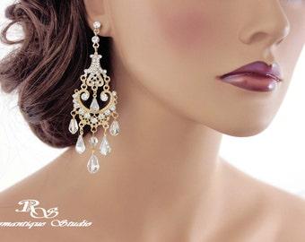 GOLD Wedding chandelier earrings art deco earrings bridal earrings crystal chandelier earrings vintage style wedding jewelry - 1303