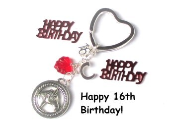 16th birthday gift - Horse keychain - Personalised keyring - Horseriding gift - 16th gift for sister, daughter, friend - 16th keychain - UK