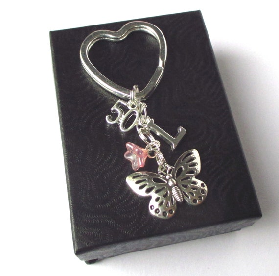 Personalised 50th Birthday Keychain Butterfly Keyring 50th