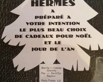 Original Hermes christmas adv, 30x41cm, Vintage French home decor , fashion adv, advertising