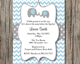 Baby Shower Invite Powder Blue Grey Printable Editable Invites Instant Download Elephant Invitations 5x7 - 003