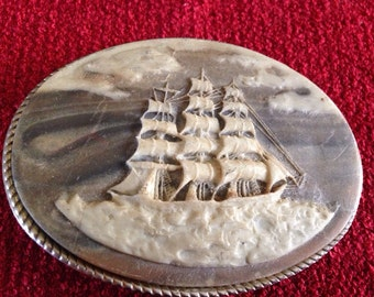 Clipper ship cameo belt buckle