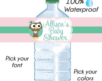 Custom Baby Shower Water Bottle Labels, Wedding Labels, Waterproof Water Bottle Labels