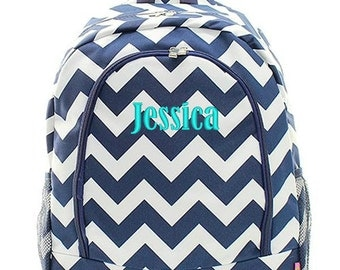 Personalized Backpack Monogrammed Bookbag Chevron Navy Blue White Large Canvas Kids Tote School Bag Embroidered Monogram Name