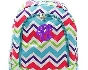 Personalized Backpack Monogrammed Bookbag Chevron Multi Aqua Blue Large Full Size Canvas Kids Tote School Bag Embroidered Monogram Name
