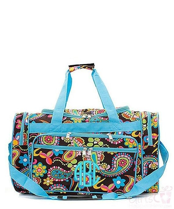 Kids Duffle Bag Monogrammed Daisy Paisley Turquoise Blue