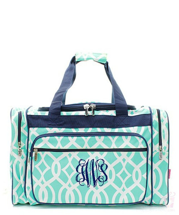 Kids duffle bag monogrammed ivy moroccan mint by