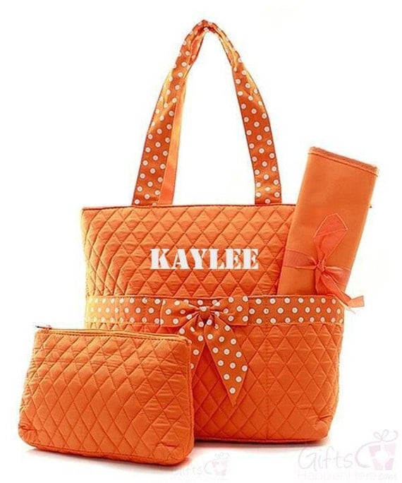 items similar to personalized diaper bag quilted monogrammed orange white polka dot bow tote. Black Bedroom Furniture Sets. Home Design Ideas