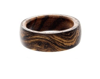 mens wedding ring wood wedding band unique mens ring zebrawood